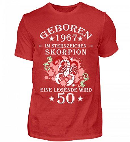 Shirtee Hochwertiges Herren Sternzeichen Skorpion Wird 50 Rot