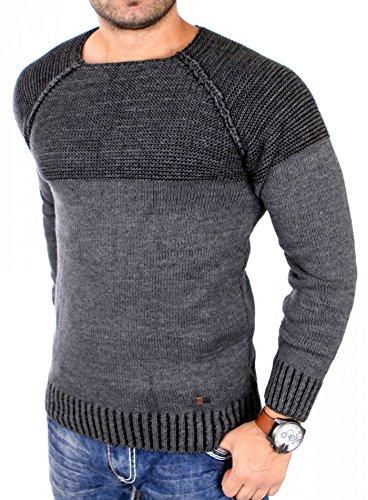 Reslad Strickpullover Herren Two Tone Rundhals Pullover Grobstrick RS-16081 (3XL, Anthrazit)