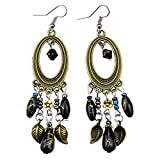 Glitz Fashion Vintage Antik Silber Bohemia Perlen Quaste Blume baumeln & Drop earrings- violett