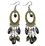 Glitz Fashion Vintage Antik Silber Bohemia Perlen Quaste Blume baumeln & Drop earrings- violett