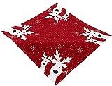 Raebel Tischdecke 85 x 85 cm Stickerei lustiger Elch rot-bunt Weihnachten Weihnachtsdeko Weihnachtstischdecke Mitteldecke Tischdeko Tischdecke