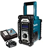 Makita DMR104 Job Site Radio with DAB Blue With 1 x 3.0Ah BL1830 Battery & DC18RC