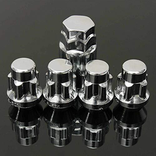 LSLMLLL Chrome 4 Locking + 1 Schlüssel Radmuttern M12x1.5mm 60 Grad konische Locking Leichtmetallrad Anti-Diebstahl-Muttern Bolzen