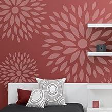 Stencil Pared Floral 003 Flores. Tamaño pequeño: stencil 50x50 cm, diseño 48x48 cm