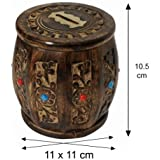 Antique Wooden Handcrafted Money Bank / Dholak Shaped / Perfect Gifts For Kids, Girls, Boys & Adults / 10.5 X 11 X 11 Cm