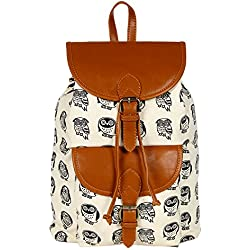 Lychee Bags Women's Cream, Tan Canvas Kacy Backpack (LB22OWT)