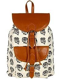 Lychee Bags Women's Cream, Tan Canvas Kacy Backpack (LB22OWT)