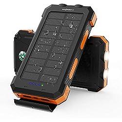 X-DRAGON Powerbank Solaire 24000mAh Chargeur Solaire avec Double Entrée (USB C et Micro), Double Lampe de Poche, Boussole pour iPhone, Huawei, Samsung, Téléphones Portables, Plein Air, Camping