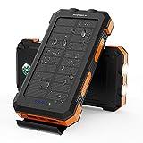 Solar Power Bank X-DRAGON 24000mAh Caricabatterie Solare Portatile Impermeabile con Doppio Ingresso (USB C e MICRO) per iPhone, Huawei, Samsung, Telefoni Cellulari, Esterno, Campeggio