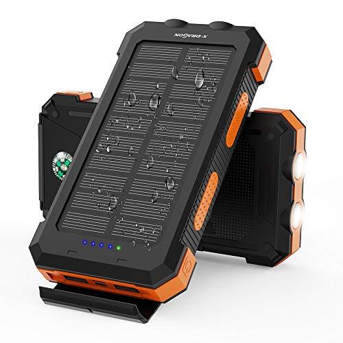 X-DRAGON Solar Powerbank 24000mAh Wasserdichtes Tragbares Solarladegerät mit Zwei Eingängen (USB-C & Micro), Zwei Taschenlampen, Kompass für iPhone, Huawei, Samsung, Handys, Outdoor, Camping