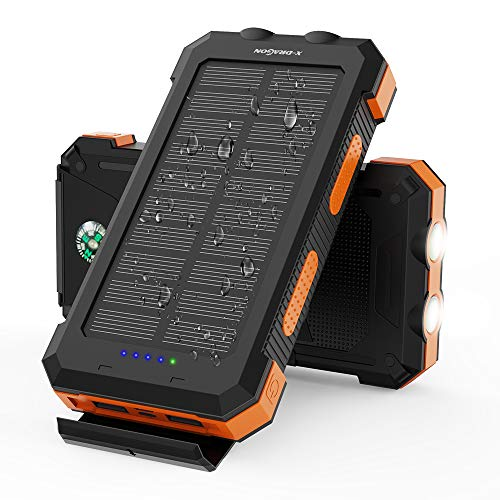 X-DRAGON Solar Powerbank 25000mAh wasserdichte Solarladegerät mit 5 Ausgängen, Dual Input (USB C & Micro), Dual Flashlight, Kompass für iPhone, Samsung, Huawei, Handys, Camping, Outdoors