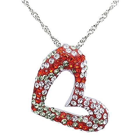 Epinki Women Girls 925 Sterling Silver Necklace Open Heart Cubic Zirconia Orange