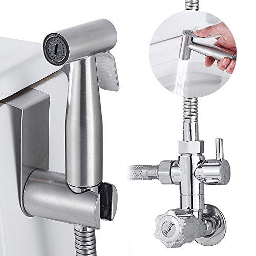 Handheld Bidet Spritze Toilette Edelstahl Messing-Kit Set für Pet Bad Closestool Kniebeugen Pfanne, Reinigung mit Wandhalterung und 119,4cm Schlauch-Set
