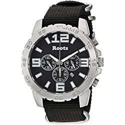 Roots Men's 'Core' Quartz Stainless Steel and Nylon Casual Watch, Color:Black (Model: 1R-LF604BA7B)