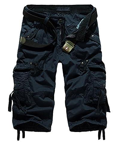 Panegy – Homme été Cargo Shorts de Loisir Coton capri décontractée Shorts de Sport/ Combat Casual Pantalons 3/4 avec une ceinture de toile – Bleu foncé – FR 44