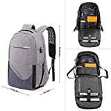 Laptop Backpack, School Rucksack with USB Charging Port Anti-Theft Water Resistant Polyester School Bags for College Men and Womens Backpack Fits 15.6-Inch Laptop and Notebook, Gray
