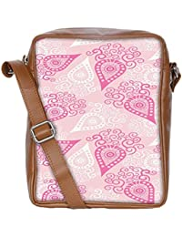 Snoogg Pink Pattern Sling Bags Crossbody Backpack Chest Daypack Travel Bag Book Bag For Men&Women