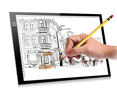 Arnce Transparent-Lichtbox 36,6 x 26,9 cm, A4 Größe, tragbares LED-Artcraft Pad Helligkeitskontrolle für Künstler, Zeichnen, Skizzieren, Animation, Röntgenbetrachtung, Nähen, Tattoo