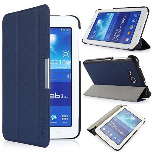 iHarbort® Samsung Galaxy Tab 3 7.0 Lite Funda - ultra delgado ligero Funda de piel de cuerpo entero para Samsung Galaxy Tab 3 7.0 Lite (SM-T110 SM-T111 SM-T113 SM-T116) (Galaxy Tab 3 7.0 Lite, azul oscuro)