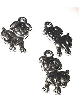 Anhänger Hundemotiv Mops aus tibet. Silber