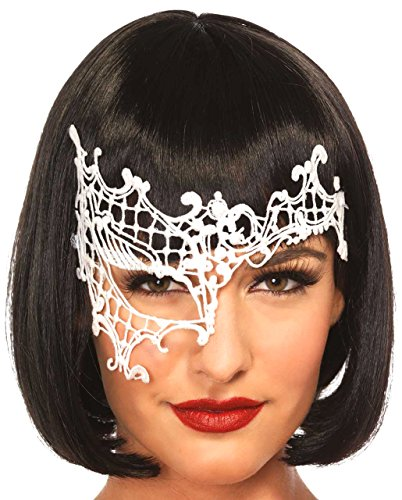Leg Avenue 3734 - Gewagte Venezianischen Applikation Augenmaske - Einheitsgröße, weiß (Adult Lingerie Kostüm)