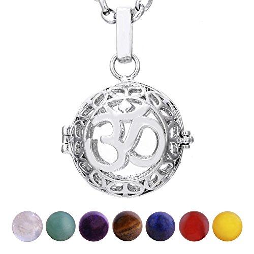 1e5998af9a9d Morella mujeres collar 70 cm acero inoxidable con colgante Om mantra y 7  piedras preciosas gema