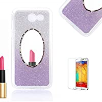 For Samsung Galaxy J5(2017 Model) Case J520 Cover [with Free Screen Protector},Funyye Soft Silicone Gel TPU Ultra Thin Slim Glitter Purple Gradual Color Changing Mirror Protective Rubber Bumper Case Cover Shell for Samsung Galaxy J5(2017 Model)