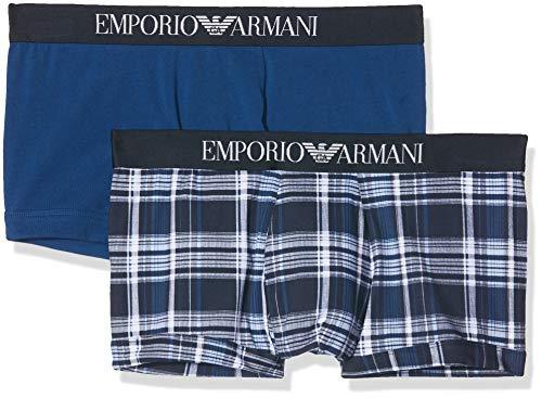Emporio Armani Underwear Herren 2PACK Trunk Seasonal Print Pattern Mix Badehose, Blau (SCOZZ.Marine/Bluette 58135), Medium (Herstellergröße:M)