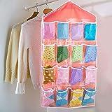 #6: Gioibazaar Multifunction Clear 16 Pockets Socks Shoe Toy Underwear Slippers Jewelry Sorting Storage Bag Door Wall Hanging Closet Organizer