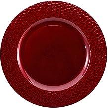 Brunchfill juego de 6martillado profundo rojo redondo bajoplatos decorativos,