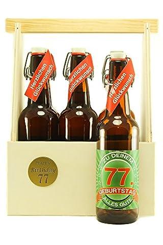 Bier Geschenk 6 er Holz Träger mit 6 Fl. Bier 77. Geburtstag
