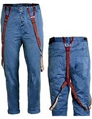Eight2Nine Herren Chino by Sublevel Garmend Dyed mit Knopfleiste und abnehmbaren Hosenträgern