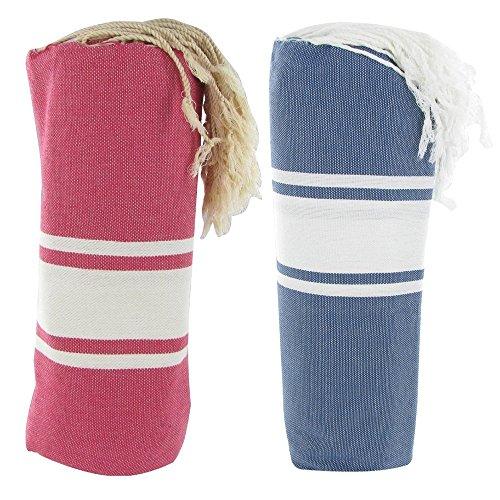 Handtuch Set Baumwolle Fota Hamam Fuchsie und blaue jean Farbe (Kik Jeans)