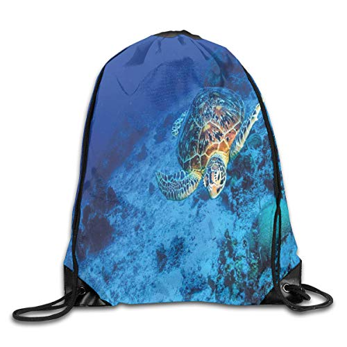 GONIESA Fashion New Drawstring Backpacks Bags Daypacks,Oceanic Wildlife Themed Photo of Sea Turtle In Deep Blue Waters Coral Reef Hawaiian,5 Liter Capacity Adjustable for Sport Gym Traveling -