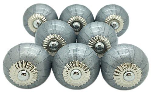 Lot 8 boutons porte céramique peinte métallisée