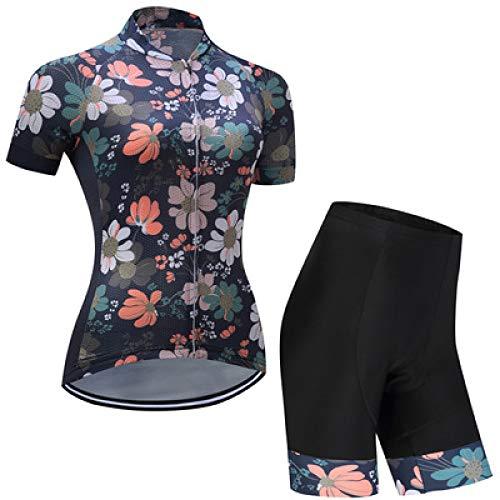 YDJGY Jersey Women Summer, Bike Short Sleeve Und 3D Gel Pad Shorts Wasserdichtes Und Schnell Trocknendes Profi-Jersey, Outdoor-Jersey