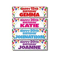 2 Personalised Birthday Banners - Balloon Corner Design - Any Name & Any Age - Available in 6 Colours (Approx 3ft x 1ft) (Green)