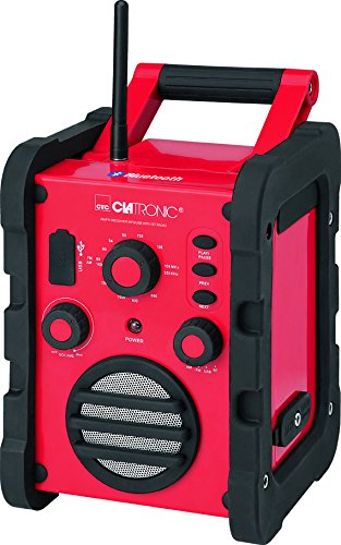 Clatronic BR 835 Baustellenradio (Bluetooth, UKW/MW-Tuner, AUX-In, USB) rot