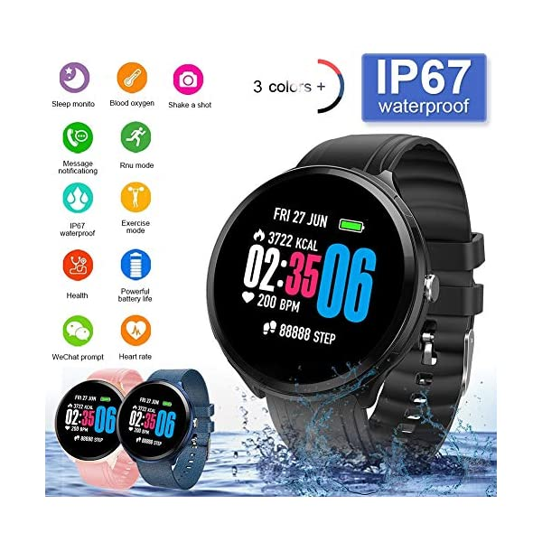 FUPOJW Waterproof IP67 Smart Watch Fitness Activity Tracker with Heart Rate Blood Pressure Monitor Calorie Smartwatch… 2