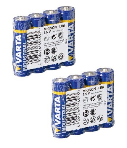 Industrial 8 x r6 lot de 8 piles alcalines aA