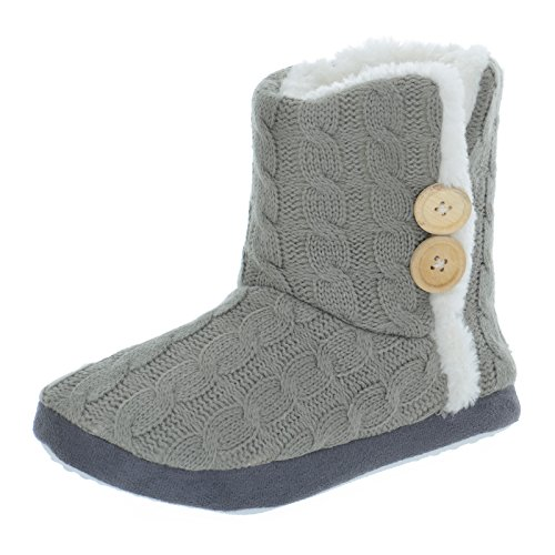 Autumn Faith Ladies Cable Knit Bootie Style Slippers With Hard Non Slip Soles - Grey, UK 7