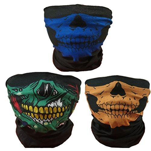 ToBe-U Seamless multifunzione Maschera di tubo del cranio a metà funzione per Halloween BGY