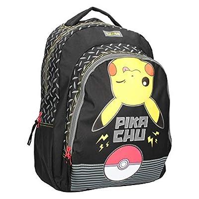 Vadobag Mochila Escolar | 43 x 31 x 15 cm | Pokemon | Pikachu | Negro | Niños Bolsillo de Pokemon