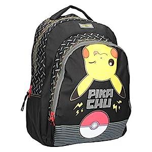 Vadobag Mochila Escolar | 43 x 31 x 15 cm | Pokemon | Pikachu | Negro | Niños Bolsillo