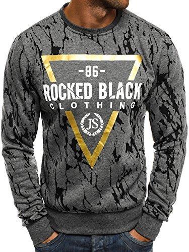 OZONEE Herren Sweatshirt Langarmshirt Sweatjacke Motiv Pullover Aufdruck Pulli J.STYLE DD15 XL DUNKELGRAU (Sweatshirt Sweat Super Crewneck)