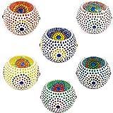 6er Set Orientalisches Mosaik Windlicht Ajan 9 cm groß Bunt   Orientalische Glas Teelichthalter orientalisch   Marokkanische Windlichter aus Glas als Dekoration   6 Stück - 4