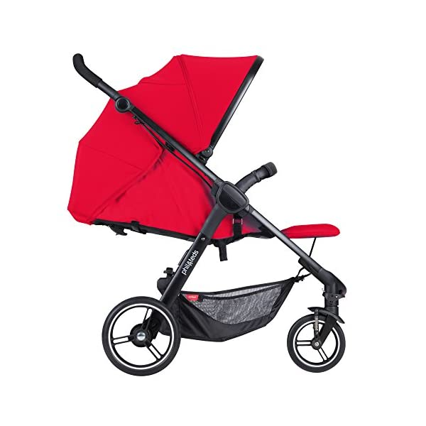 """Phil&teds Smart Buggy Pushchair, Cherry phil&teds Foot fold - intuitive, compact, one-piece standing foot fold - a world's first of its kind - is only 23"""" wide, making it perfect for tight city spaces Smooth ride tires - super-smooth, hassle-free riding with 10"""" rear puncture-proof, aerotech wheels and suspension on all four wheels; convenient hand-operated parking brake offers easy braking control at your fingertips Lightweight - stroller weighs 23.5 lbs. and includes a main, full-size seat that holds up to 44 lbs., an extendable leg and a sun hood with zip-out extension and silent peek-a-boo flap 9"""