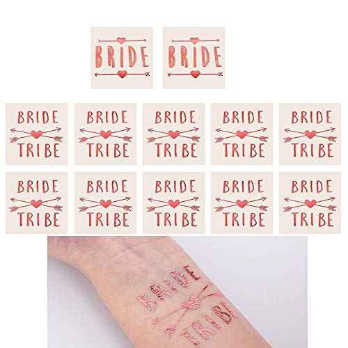 LINGREAL Braut/Bride Tribe Gold und Rose Folie temporäre Tattoos, Bachelorette Party Engagement Party Dekoration und Bridal Shower Zeichen (Pink) (Bridal Zeichen Shower)