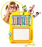 Boxiki Kids Learning Tablet + Magnetic Drawing Pad by Toddler Musical Toy w/ Kids' Learning Games. Educational Toy for Child Development. Learn Numbers, ABC Learning, Spelling Games, Musical Tunes
