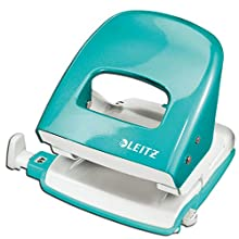 Leitz Hole Punch, 30 Sheets, Guide Bar with Format Markings, Metal, WOW Range, 50081051 - Ice Blue